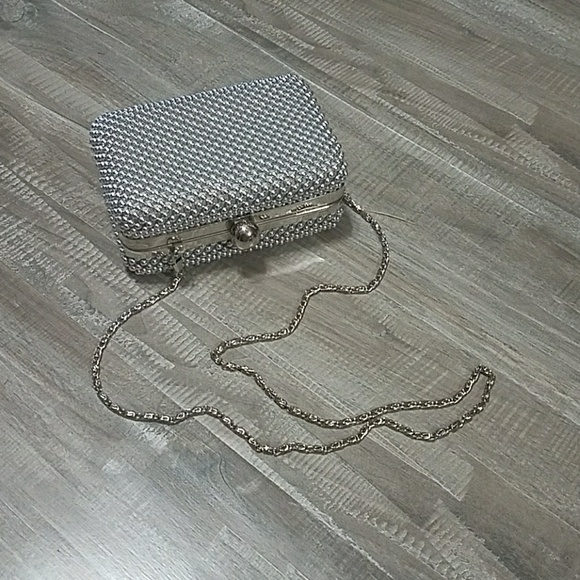 Handbags - Cute silver beaded clutch